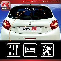Adhesifs & Stickers Sticker EAT SLEEP PEUGEOT pour 208 207 206 blanc