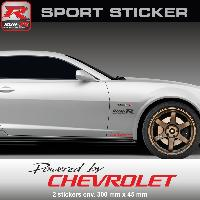 Adhesifs & Stickers Sticker PW25NR Powered by CHEVROLET - NOIR ROUGE - pour Spark Aveo Cruze Camaro Maibu Trax Run-R Stickers