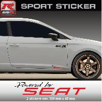 Adhesifs & Stickers Sticker Powered by SEAT PW09NR - NOIR ROUGE - pour Ibiza Cupra Leon FR Mii Toledo Ateca - Run-R Stickers