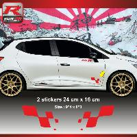 Adhesifs & Stickers Sticker RENAULT SPORT 00FPR damier pour Clio Megane Twingo - Rouge - Run-R Stickers