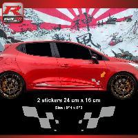 Adhesifs & Stickers Sticker RENAULT SPORT damier pour Clio Megane Twingo - Argent Run-R Stickers