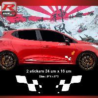Adhesifs & Stickers Sticker RENAULT SPORT damier pour Clio Megane Twingo Blanc Run-R Stickers