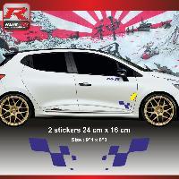 Adhesifs & Stickers Sticker RENAULT SPORT damier pour Clio Megane Twingo Marine - Run-R Stickers