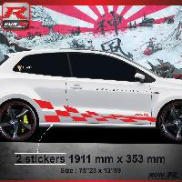 Adhesifs & Stickers Sticker bas de caisse 007R GTRS Vw POLO 6R - Rouge
