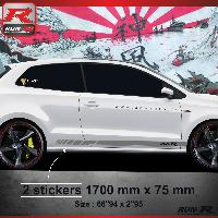Adhesifs & Stickers Sticker bas de caisse 009A RACING VW POLO 6R - Argent