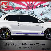 Adhesifs & Stickers Sticker bas de caisse 009M RACING Vw POLO 6R - Marine