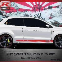 Adhesifs & Stickers Sticker bas de caisse 009R RACING Vw POLO 6R - Rouge