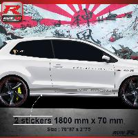 Adhesifs & Stickers Sticker bas de caisse 012A CUSTOM VW POLO 6R - Argent