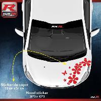 Adhesifs & Stickers Sticker capot pour PEUGEOT 208 207 et 206 - Fleurs - Rouge