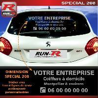 Adhesifs & Stickers Sticker publicitaire personnalise pour vitre arriere de PEUGEOT 208 - Couleur Argent - Run-R Stickers