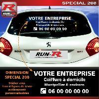Adhesifs & Stickers Sticker publicitaire personnalise pour vitre arriere de PEUGEOT 208 - Couleur Blanc - Run-R Stickers