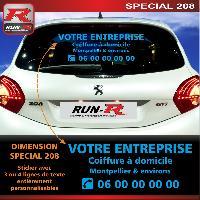 Adhesifs & Stickers Sticker publicitaire personnalise pour vitre arriere de PEUGEOT 208 - Couleur bleu - Run-R Stickers