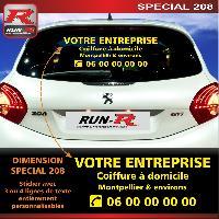 Adhesifs & Stickers Sticker publicitaire personnalise pour vitre arriere de PEUGEOT 208 - Couleur jaune - Run-R Stickers