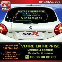 Adhesifs & Stickers Sticker publicitaire personnalise pour vitre arriere de PEUGEOT 208 - Couleur vert monster - Run-R Stickers
