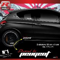 Adhesifs & Stickers Stickers 00ABRB Powered by pour Peugeot 32x8cm - Rouge Blanc Run-R Stickers