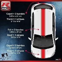 Adhesifs & Stickers Stickers triple bandes de toit et capot pour PEUGEOT 208 et 207 - ROUGE Run-R Stickers
