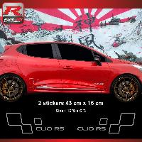 Adhesifs & Stickers Sticker style RENAULT SPORT CLIO RS Argent
