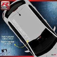Adhesifs & Stickers stickers de toit pour PEUGEOT 208 GTI - BLANC Run-R Stickers