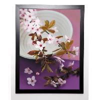 Affiche BEYLER CATHERINE Image encadree Composition Zen - Branche de Prunus sur coupe 57x77 cm Violet - Generique