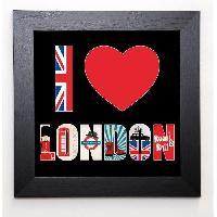Affiche BLONDE ATTITUDE Image encadree I love London 37x37 cm Noir