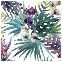 Affiche Image encadree type coffre Feuilles tropicales - MDF - 35x35 cm - Violet et vert - Moulure blanc mat 40x15 cm - Generique