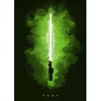 Affiche Poster metallique Star Wars - Sabre Laser Yoda - Generique