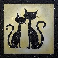 Affiche Tableau deco Toile peinte a la main 60x60 - Chats noir dore - Generique