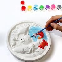 Agenda - Organiseur - Recharge MAIN D'ARTISTE Coffret cadre animaux de la mer Ø 17.5 cm + 8 godets de peinture + 1 pinceau + 1 support adhésif - Aucune