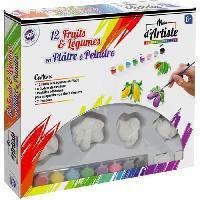 Agenda - Organiseur - Recharge MAIN D'ARTISTE Coffret de 12 fruits de 7 cm en plâtre a peindre + 8 godets de peinture + 1 pinceau - Aucune
