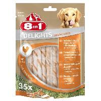 Alimentation - Croquettes 8IN1 Friandise stick a macher - En peau de boeuf garni de viande de poulet - Pour chien - 35 pieces