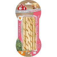 Alimentation - Croquettes 8IN1 Friandise stick a macher - En peau de porc garni de viande poulet - Pour chien - 10 pieces