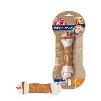 Alimentation - Croquettes 8in1 Triple Flavour Os a macher Premium L aux Boeuf. Porc. Poulet - Pour chien de grande race - 1 piece