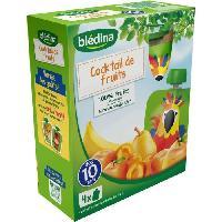 Alimentation Infantile 4 gourdes de puree de fruits - Cocktail de fruits - Des 10 mois - 4 x 90 g