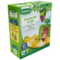 Alimentation Infantile 4 gourdes de puree de fruits - Pommes du verger - Des 10 mois - 4 x 90 g