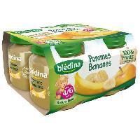 Alimentation Infantile 4 petits pots de puree de fruits - Pommes et bananes - Des 4 mois - 4 x 130 g x6