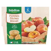 Alimentation Infantile BLEDINA - Coupelles pommes peches biscuit 4x100g