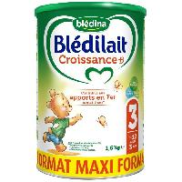 Alimentation Infantile BLEDINA Blédilait Lait en Poudre Croissance +) - 3eme âge 12 mois a 3 ans - Maxi Format 1.6 kg - Bledilait