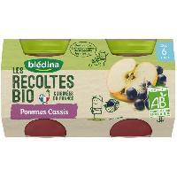 Alimentation Infantile BLEDINA Petits pots pommes cassis Les recoltes Bio - Des 6 mois - 2 x 130 g