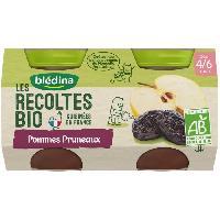 Alimentation Infantile BLEDINA Petits pots pommes pruneaux Les recoltes Bio - Des 4 mois - 2 x 130 g