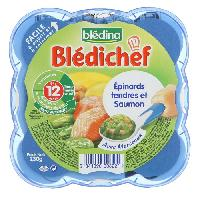Alimentation Infantile Bledichef Epinards tendres et saumon - 230 g - Des 12 mois