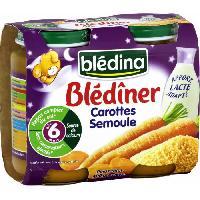 Alimentation Infantile Blediner Petits Pots Carottes et semoule - 2x200 g - Des 6 mois