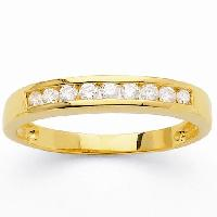 Alliance - Solitaire Demi-alliance Or Jaune 750degres et Diamants 0.30 ct Femme - 56