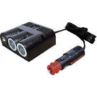 Allume-Cigare & Cendriers Adaptateur Allume-cigares - 1M2F+2xUSB F - 5V2x2.5A - Noir