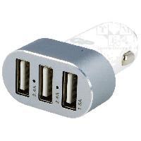 Allume-cigare 12V Adaptateur Alllume-cigareTriple USB - 5V - Blanc