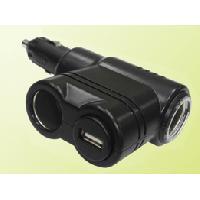 Allume-cigare 12V Adaptateur Allume-cigareUSB - 2x12V10A + 5V2.1A - Noir