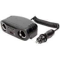 Allume-cigare 12V Multiprise allume-cigare 10A 12V 2x4A noir avec cable 1m - 1xUSB - testeur de batterie ADNAuto