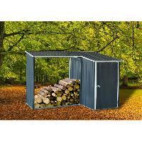 Amenagement Exterieur - Du Jardin Abri de jardin en metal 1m2 avec abri buches 1.1m2 - 1 porte battante - Gris anthracite