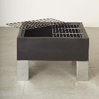 Amenagement Exterieur - Du Jardin Brasero + barbecue carre avec pare-etincelles et 2 grilles - 68 x 68 cm