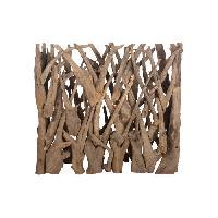 Amenagement Exterieur - Du Jardin Brise vue en teck véritable- 118 x 28 x 110 cm - Marron naturel Aucune
