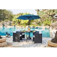 Amenagement Exterieur - Du Jardin Parasol droit diametre 2.5 m inclinable - Mât aluminium et toile polyester 160g - Bleu Aucune